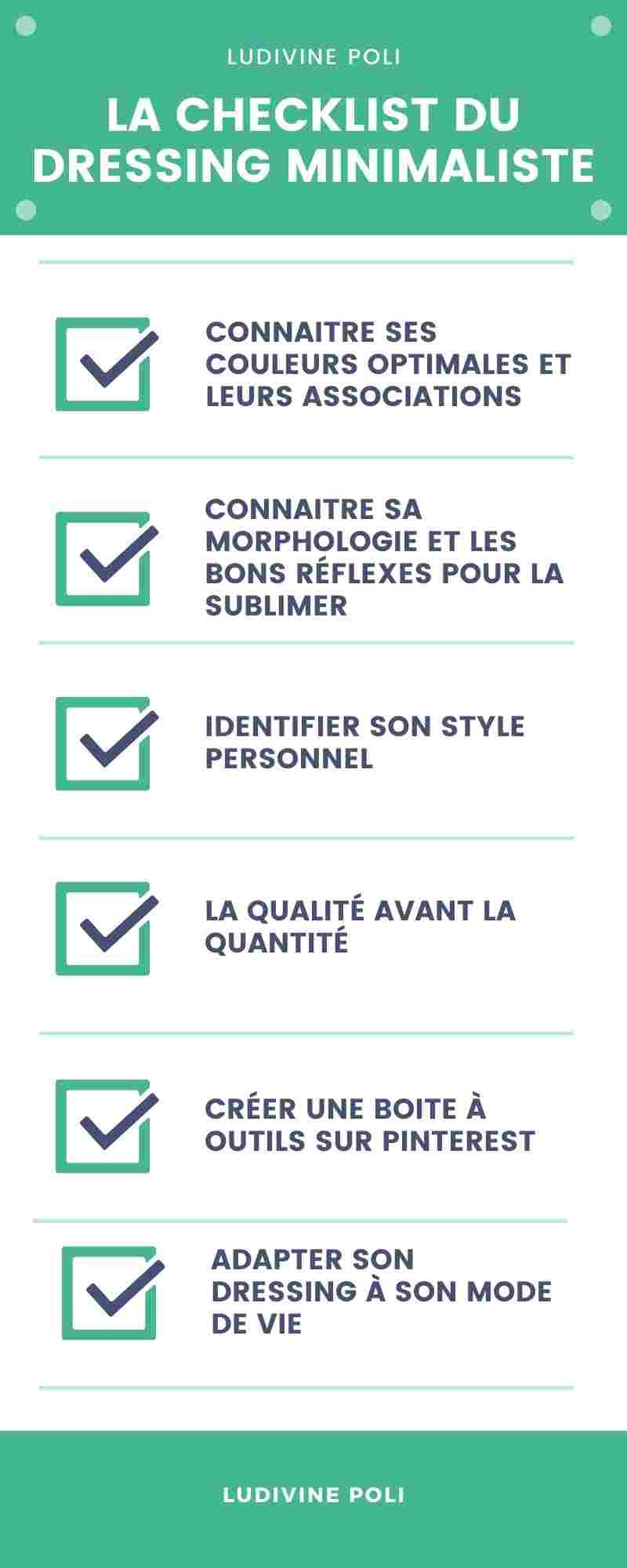Infographie checklist dressing minimaliste